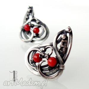 miechunka sorbus - srebrne kolczyki z koralem - wirewrapping, czerwony