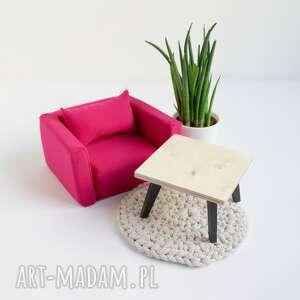 fotel miękki dla lalek, mebelki domek lalek