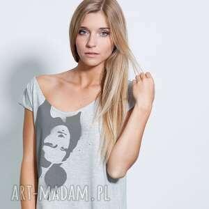 bluzki mona lisa mouse damska, oversize, koszulka, nadruk, obraz