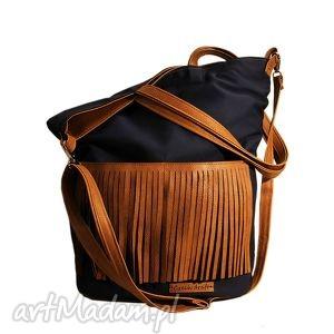 granatowy frędzel, shopper, torba, torebka, płótno, frędzle