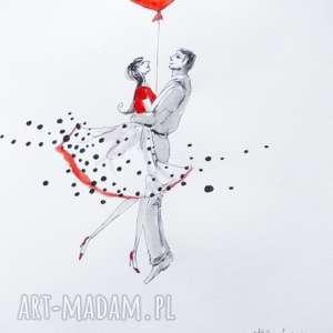 TAK DOBRZE NAM RAZEM praca akwarelą i piórkiem artystki plastyka Adriany Laube