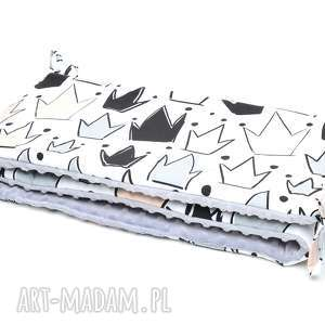 milutka ochraniacz do łóżeczka minky dwustronny korony szary