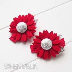 na święta upominek Spinki do włosów kwiatki czerwono srebrne święta, ozdoby
