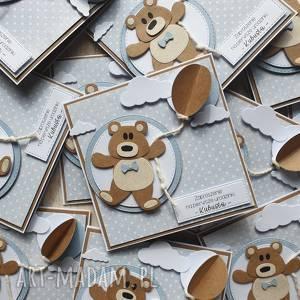 handmade scrapbooking kartki kartka / zaproszenie - misiak z balonem
