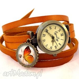 motylek - zegarek bransoletka na skórzanym pasku, skóra vintage