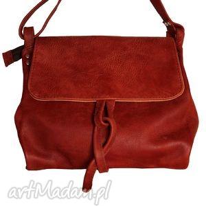na ramię surowa baronowa ciemna czerwień antyk, skóra, bordo, marsala,