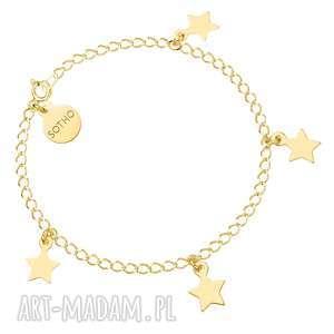 złota bransoletka z gwiazdkami - bransoletka, złota, gwiazdki, modowa, gwiazda