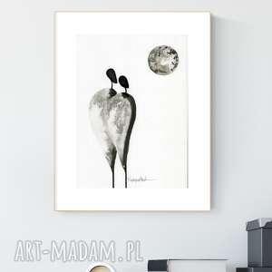 grafika a4 malowana ręcznie, minimalizm, abstrakcja czarno-biała, 2466969