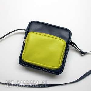 pomysły na prezenty pod choinkę Chlebak - granat i kieszonka limonka, elegancka