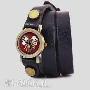Prezent Bransoletka, zegarek - Steampunk Heart czarny, skórzany,