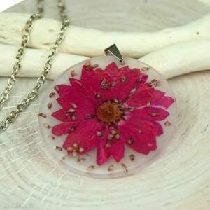 naszyjnik z suszonymi kwiatami, herbarium jewelry, rośliny w żywicy z210 - kwiaty