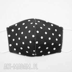 maseczki maska bawełniana dwuwarstwowa maseczka ochronna na rower czarna w grochy