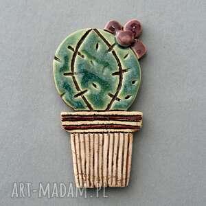 handmade upominek świąteczny oo kaktus-magnes ceramiczny