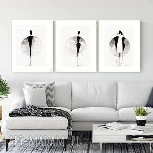 dom zestaw 3 grafik 30x40 cm wykonanych ręcznie, grafika czarno-biała