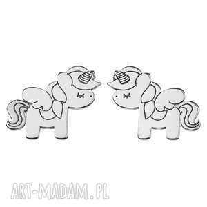 czakibransoletki mini kolczyki jednorożce, unicorn, srebro, kolczyki, jednorożec