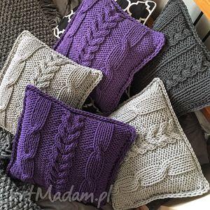 handmade poduszki poduszka dziergana plecionka warkoczowa