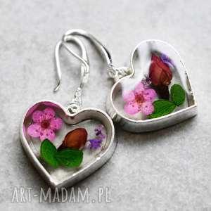 925 srebrne kolczyki ♥ Bukiet kwiatów , kwiaty, żywica, natura, liście, płatki