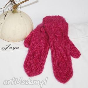 rękawiczki różowe rękawiczki, kciuk, moher, wełna, norweski