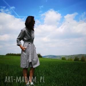 kimono damskie - płaszcz sukienka saint tropez, marine, sainttropez, stripes