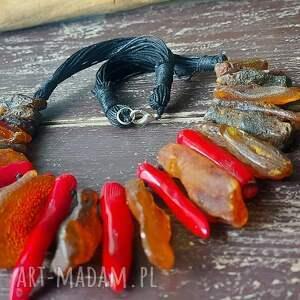 naszyjnik kolia z surowego bursztynu koralem, bursztynu
