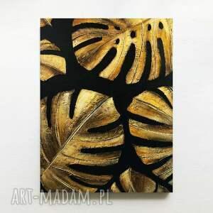 golden monstera - obraz z płaskorzeźbą wielkoformatowy na płótnie metalicznymi
