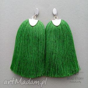 bead story kolczyki z chwostami w trawiastej zieleni, sztyfty, stal, metal, chwost