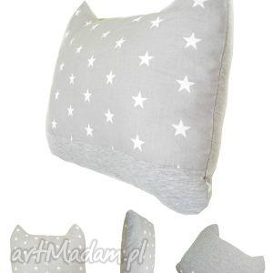poduszki poduszka z uszami - szara w gwiazdki, poduszka, kot, gwiazdy, bawełna