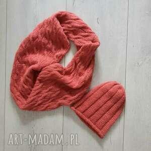 Komin plus czapka komplet w kolorze koralowym kominy albadesign