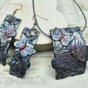 motyle - komplet biżuterii zawieszka i długie kolczyki, motyle, biżuteria