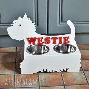 stojak na karmę dla psa - west terrier, stojak, karmę, miski, west