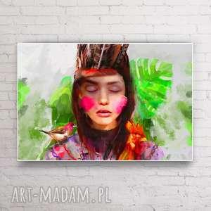 obraz na płótnie i 120x80cm / ind /, obrazy, nowoczesny, salon, indianka, wnętrze