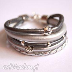 Bransoleta fifty shades of silver, rzemienie, fiflty,