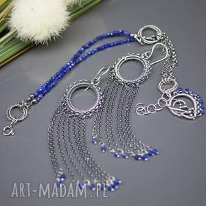 Kobaltowy lapis lazuli - komplet Elhan , kolczyki, bransoletka, lapis-lazuli