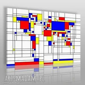 obrazy obraz na płótnie - mapa prostokąty mondrian 120x80 cm 38301