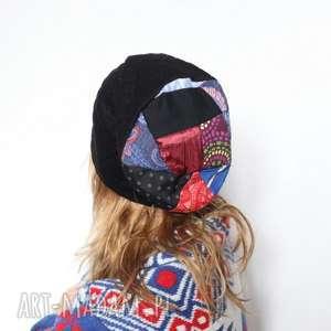czapka orientalna patchworkowa - czapka, patchwork, etno, dzianina, damska, orient
