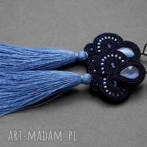granatowo-niebieskie klipsy sutasz z kocim okiem i chwostami, sznurek, eleganckie