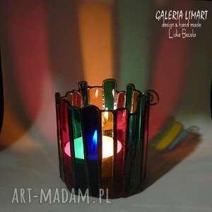 ręcznie wykonane świeczniki lampion, świecznik z kolorowego szkła witrażowego prezent