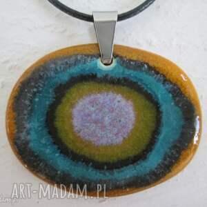 unikatowy naszyjnik - ceramiczny, zapinany, wisiorek, kolorowy, etniczny