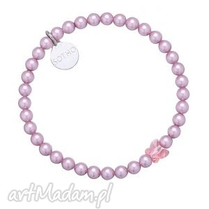 różowa bransoletka zdobiona kryształowym motylkiem swarovski crystal,