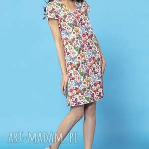 prosta sukienka na lato, model 34, wzór łowicki na białym tle - prosta