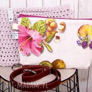 Looped szaroróż torebki just catch handmade szydełko, bawełna,