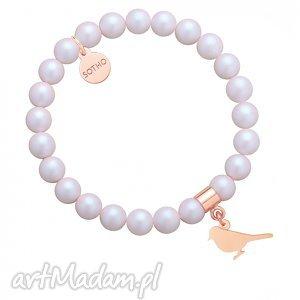 perłowa bransoletka z pereł swarovski® crystal ze słowikiem