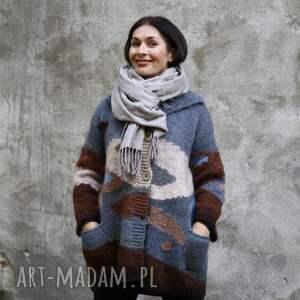 swetry sweter morski pejzaż, sweter, płaszcz, wełna, unikat, rękodzieło