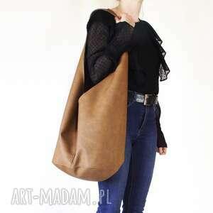 torebki short boogi bag - torba w stylu boho na ramię, ruda, przecierana, vegan