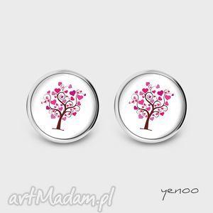 Kolczyki - drzewo miłości sztyfty, grafika yenoo kolczyki