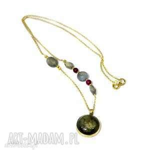 naszyjnik z labradorytem - labradoryt, srebro, złocone, 925