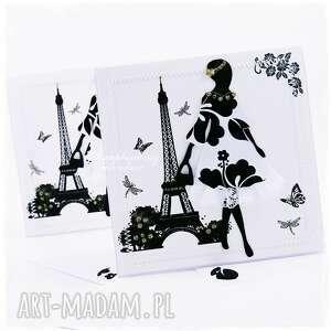 hand-made scrapbooking kartki kobieta w paryżu - kartka