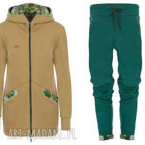 dres damski jungle - musztardowy, komplet damski, bluza i spodnie, set, zestaw