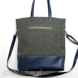 Prezent Shopper Bag - tkanina szara i skóra granat, elegancka, nowoczesna, prezent
