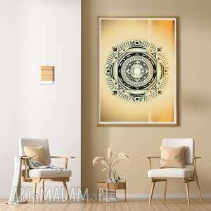 unikalny, mandala 50x70cm, mandala, żółty, dom, sztuka, plakat, obraz